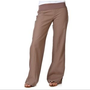 Love tree Fold Over Waist Cocoa Linen Pants